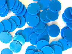 "2 Hole Acrylic Disc - BLANK - 1.25"" Across - 2 Holes for Bangle Making, Necklace or Keychain, Jewelry Making - Carribbean Blue"