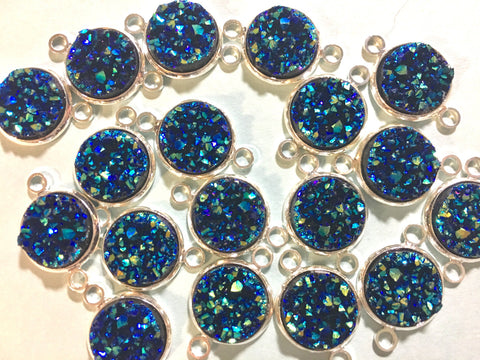 Set of 3 Navy Blue Druzy Beads with 2 Holes, Druzy Connector Beads, Dark Blue druzy, druzy bracelet, druzy bangle, mermaid druzy, blue green