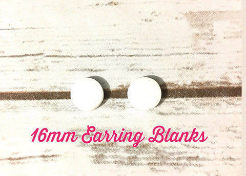 Acrylic Earring Blanks, 16mm earring circles, monogram jewelry, monogram earrings, acrylic blanks, circular earrings, acrylic circles, white