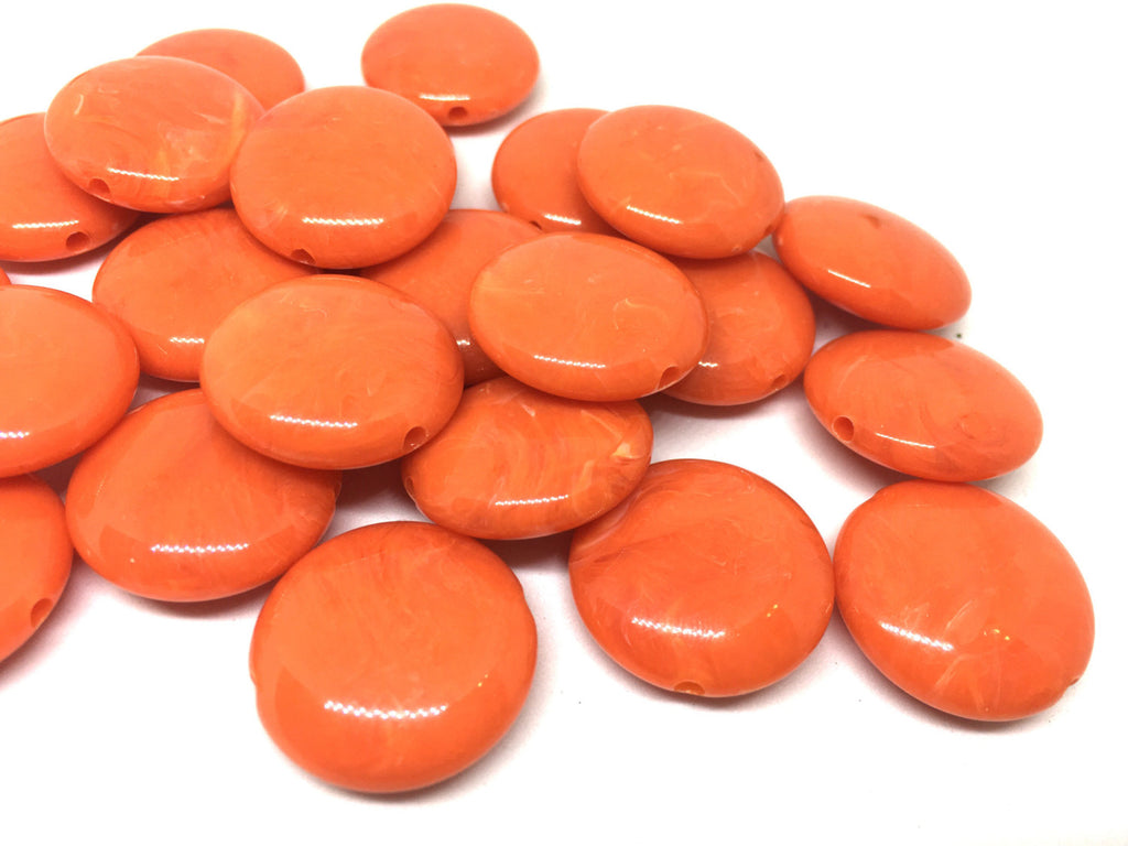 Orange Beads, The Eclipse Collection, 23mm Beads, circular acrylic beads, bracelet necklace earrings, jewelry making, bangle