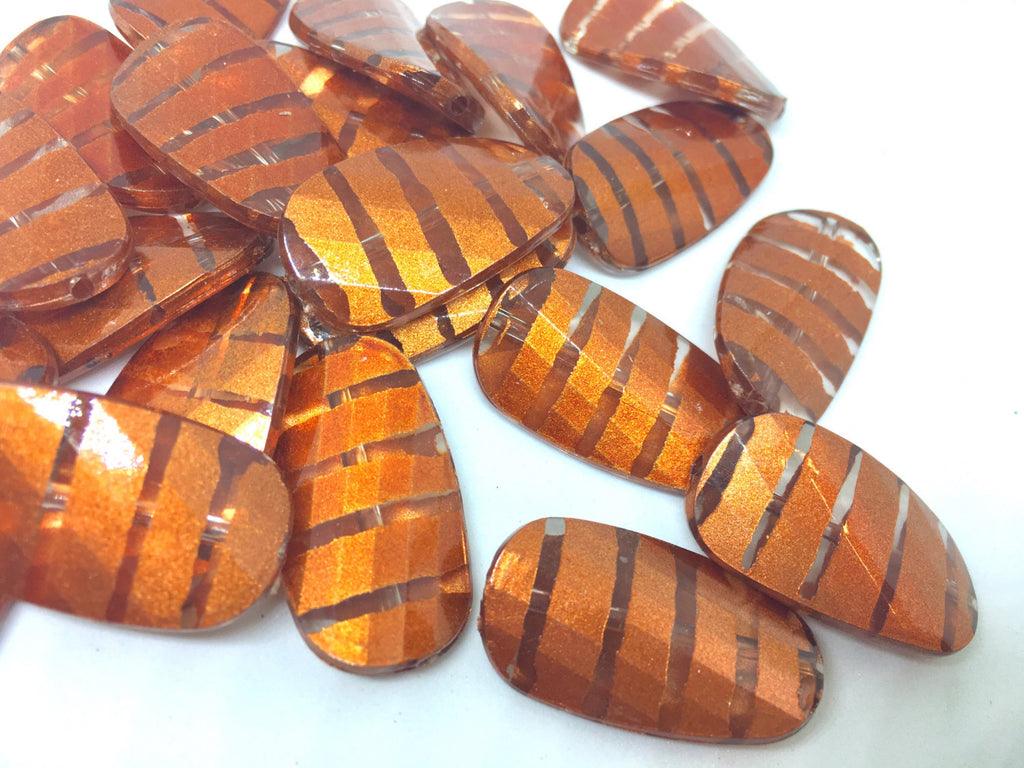Orange Beads, Striped Beads, 30mm Beads, big acrylic beads, bracelet necklace, jewelry making, acrylic bangle bead, burnt orange tiger jewel