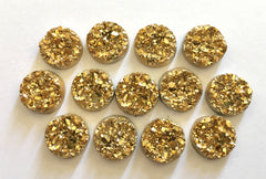 12mm Druzy Cabochons, Gold, jewelry making kit, earring set, diy jewelry, druzy studs, 12mm Druzy, cabochon, stud earrings