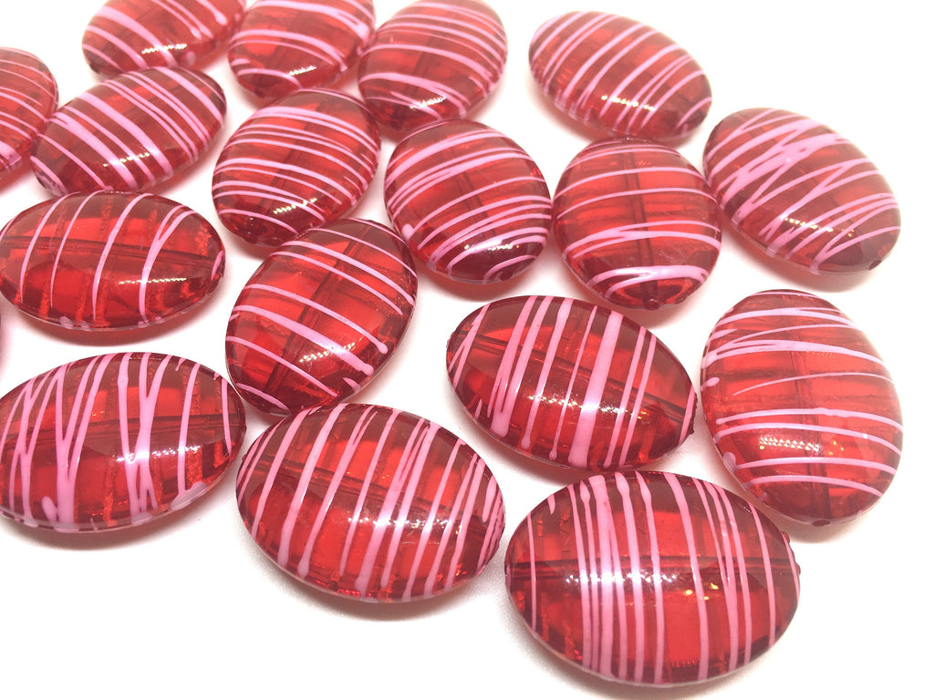 Red & Pink Oval 33mm beads, red beads, striped beads, valentine beads, craft supplies, wire bangle, jewelry making, statement necklace