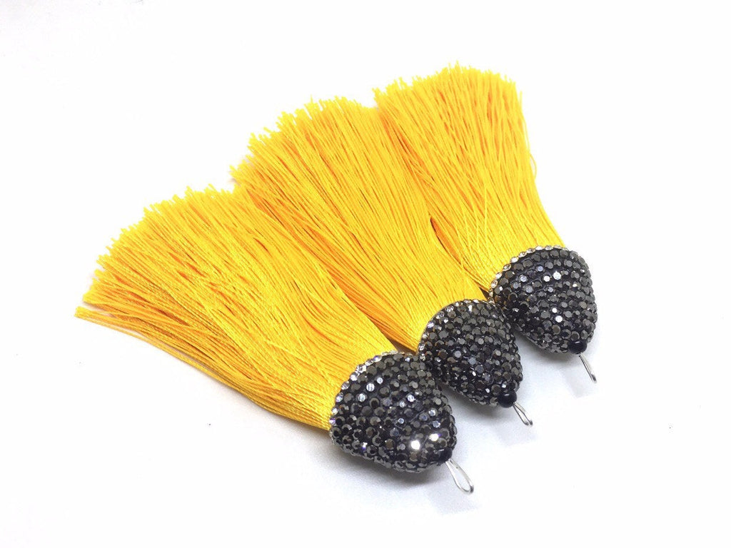 Marigold yellow Tassels, tassel earrings, Bejeweled Tassels, 3.25 Inch 85mm Tassel, yellow jewelry, tassel necklace, yellow necklace, silk