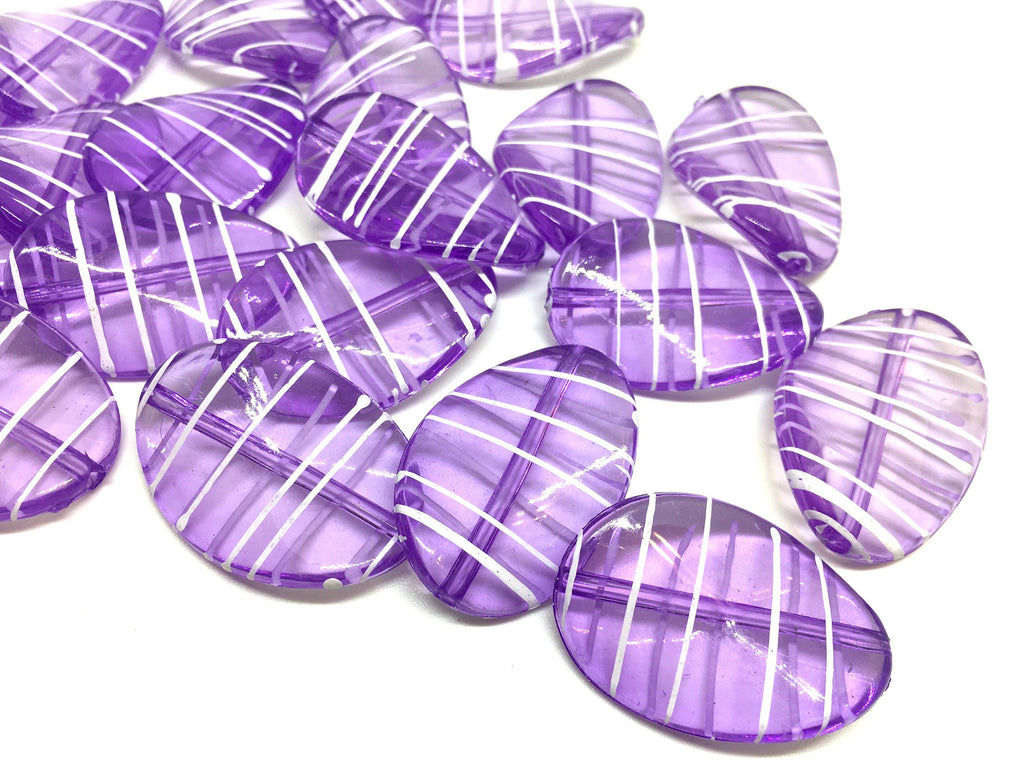 Purple Oval Beads painted with white stripes, 36mm bangle, statement necklace, purple beads, bangle beads, purple white beads, violet