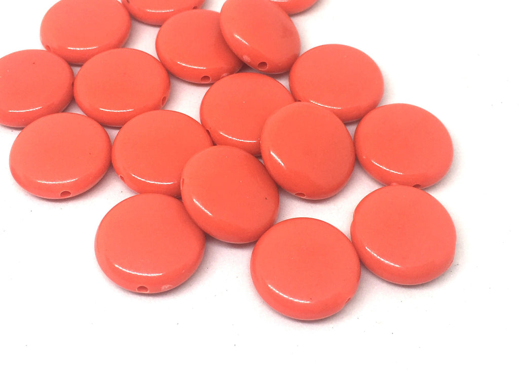 Red - Orange 14mm Round Beads in 9 colors, Rainbow beads, circle beads, geometric jewelry, kids jewelry, candy beads, acrylic beads, dark
