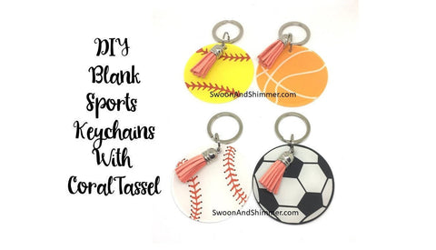 Acrylic Blanks, 2.5 Inch Sports Circles 1 Hole, Softball Baseball Basketball Soccer tassel Keychain blanks, monogram keychain, monogram gift