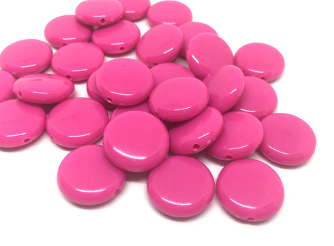 Pink 14mm Round Beads in 9 colors, Rainbow beads, circle beads, geometric jewelry, kids jewelry, candy beads, acrylic beads, bracelet bead