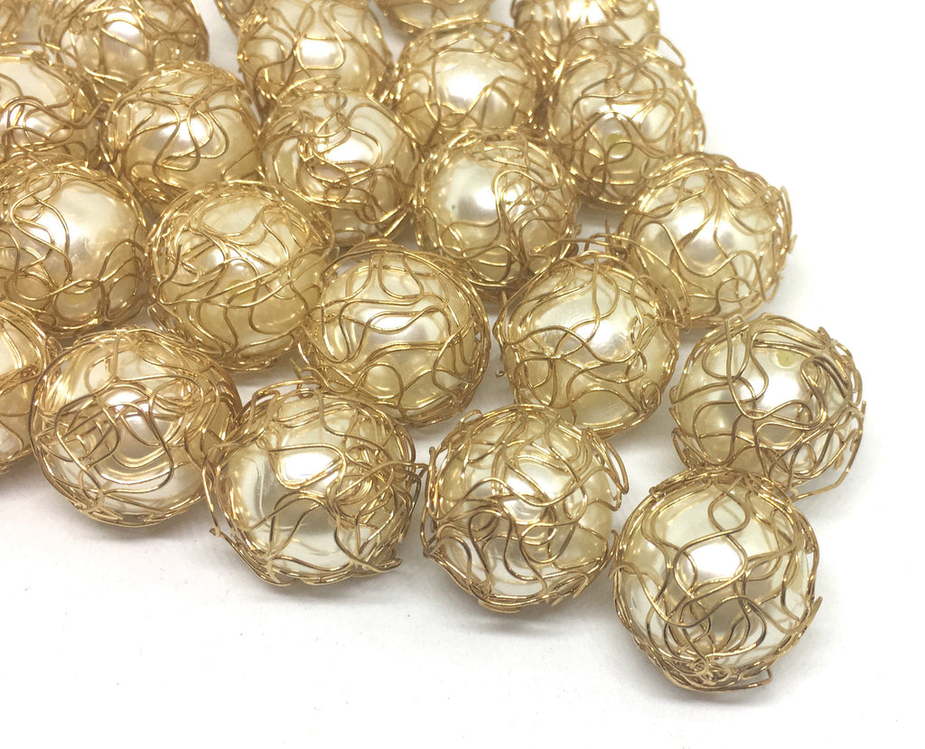 Wire Wrapped Cream 20mm Pearls beads with Gold Wrapping, large pearl beads, off white beads, gold beads, wire wrapped beads for bracelets