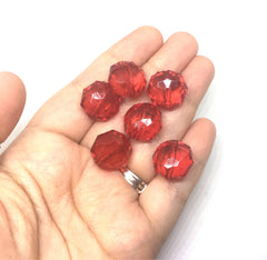 Ruby Red Translucent Beads, 17mm Faceted octagon round Bead, bright red beads, Jewelry Making, Wire Bangles, red beads, red jewelry, ruby