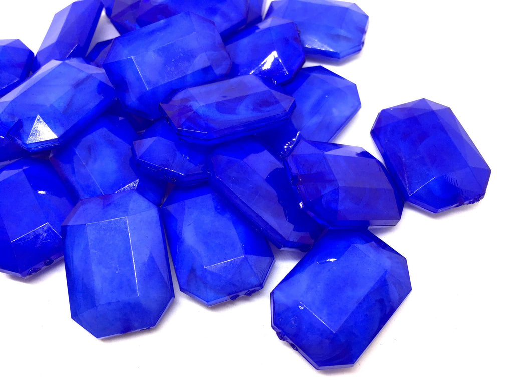 Royal blue creamy rectangle 32mm big acrylic beads, blue chunky craft supplies, blue bangle, jewelry making, royal blue statement necklace