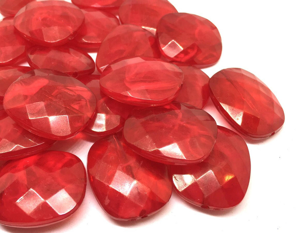 Red Beads, Oval Faceted 31mm acrylic beads, chunky necklace, craft supplies, wire bangle beads, jewelry making, red jewelry, red bangle
