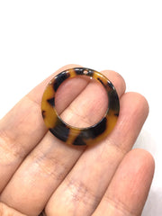 Tortoise Shell Acrylic Blanks Cutout, Circle blanks, earring bead jewelry making, 30mm circle jewelry, 1 Hole circle bangle single hole