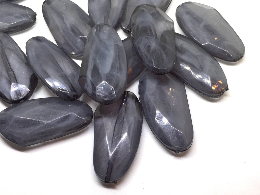 Large GRAY Gem Stone Beads, SUNSET Collection, Acrylic faux stained glass jewelry Making, Necklaces, Bracelets or Earrings, gray beads