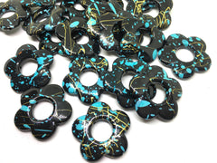 Black Flower Beads, 32mm black blue and gold, painted beads, bangle beads, flower beads jewelry, gold beads