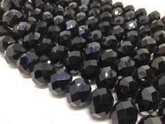 16mm black faceted Glass round Beads, jewelry Making beads, Wire Bangles, long necklaces, tassel necklace, black bead gemstones
