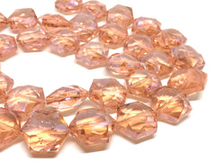 24mm Glass Crystal in coral, faceted crystals for jewelry creation, bangle making beads, peach crystals, peach beads, glass coral jewelry