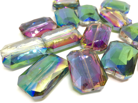 28mm Glass Crystal in RAINBOW, faceted crystals for jewelry creation, bangle making beads, rainbow crystals, rainbow beads, glass beads
