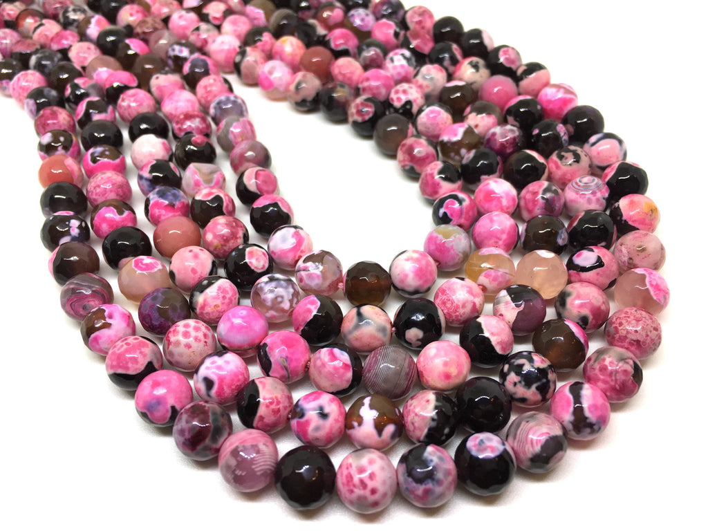 8mm pink dalmatian Agate faceted Glass round Beads, jewelry Making beads, Wire Bangles, long necklaces, tassel necklace, pink gemstone