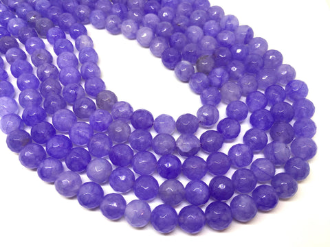 8mm purple Agate faceted Glass round Beads, jewelry Making beads, Wire Bangles, long necklaces, tassel necklace, light purple gemstone