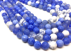 8mm White & Blue Agate faceted Glass round Beads, jewelry Making beads, Wire Bangles, long necklaces, tassel necklace, blue spotted gemstone