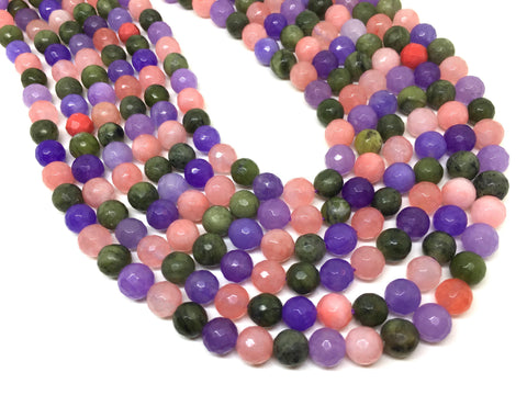 8mm Candy Pink Agate faceted Glass round Beads, jewelry Making beads, Wire Bangles, long necklaces, tassel necklace, purple pink green gems