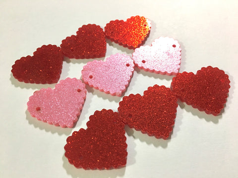 "Pink & Red GLITTER 2 Hole Acrylic Scalloped Heart - BLANK 1.25"" Across,  2 Holes for Bangle necklace Making, Jewelry Making Valentine's day"