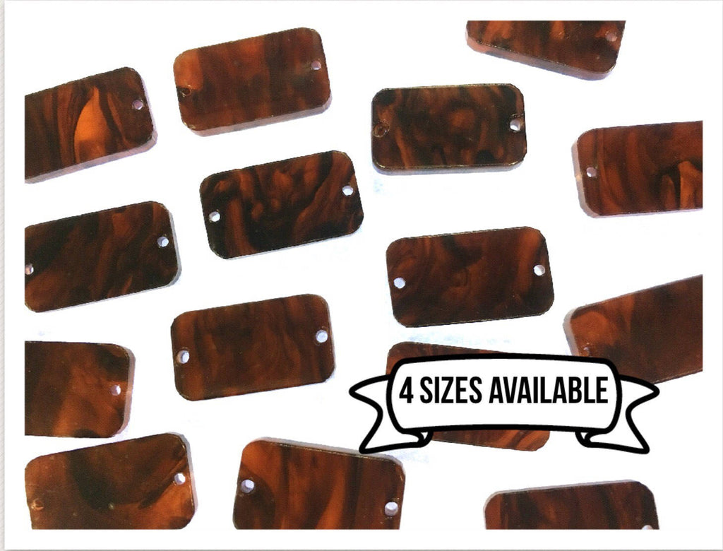 Tortoise Shell Acrylic Blanks Cutout with 2 Holes, earring bead jewelry making, tortoise jewelry, tortoise shell rectangle bangle earrings
