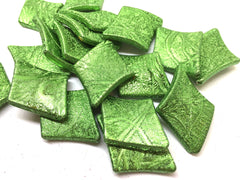Green diamond shaped texture beads, 38mm beads, green beads, textured green large beads, green jewelry, green necklace, rhombus beads
