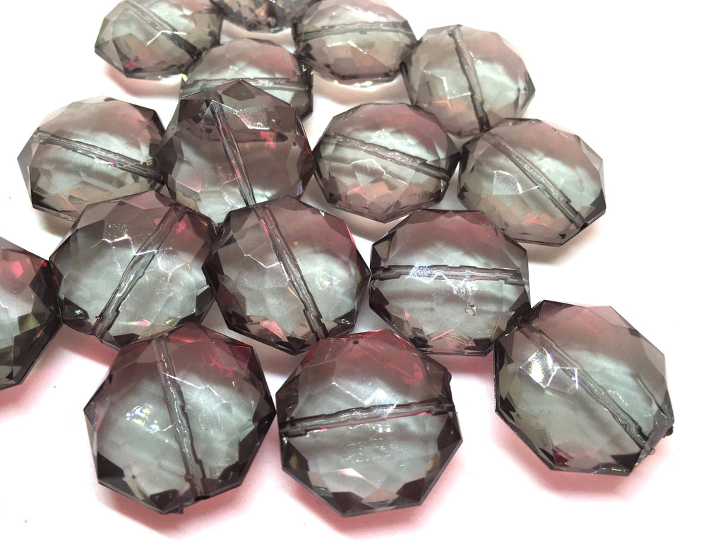Light gray Octagon Beads, gray faceted acrylic beads, gray bangle beads, gray bracelet beads, gray jewelry, big gray beads