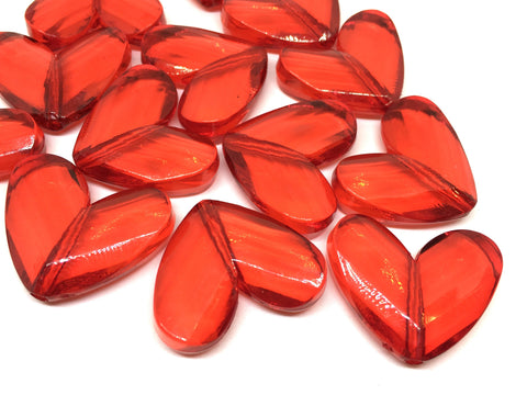 Red Faceted 34mm acrylic heart beads, chunky craft supplies for wire bangle or jewelry making, love heart jewelry Valentine's Day