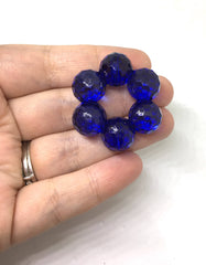 Royal Blue Bubble Large Translucent Beads, Faceted round Bead, crystal bead, 36mm bead, clear beads, translucent beads, bangle beads, navy