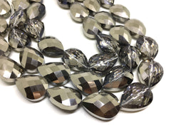 26mm Glass Crystal in silver ombre, faceted crystals for jewelry creation, bangle making beads, gray crystals, silver beads, glass beads