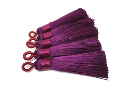 Eggplant Purple Tassels, tassel earrings, Silk Tassels, 2.5 Inch 65mm Tassel, purple jewelry, tassel necklace, purple necklace, long purple
