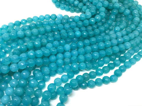 8mm teal turquoise Agate faceted Glass round Beads, jewelry Making beads, Wire Bangles, long necklaces, tassel necklace, blue gemstones