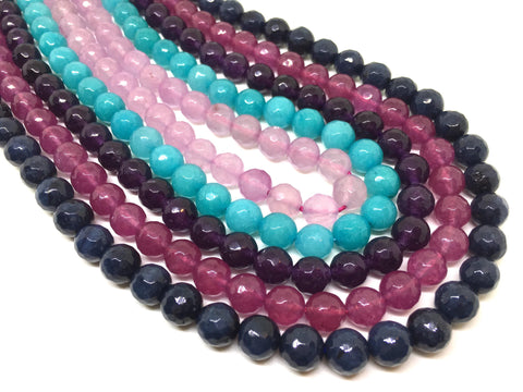 8mm multi color Agate faceted Glass round Beads, jewelry Making beads, Wire Bangles, long necklaces, tassel necklace, rainbow gemstones
