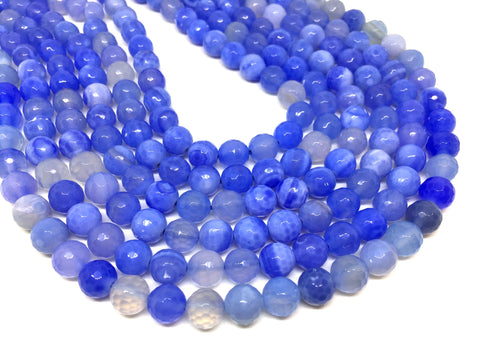 8mm blue and cream Agate faceted Glass round Beads, jewelry Making beads, Wire Bangles, long necklaces, tassel necklace, blue gems