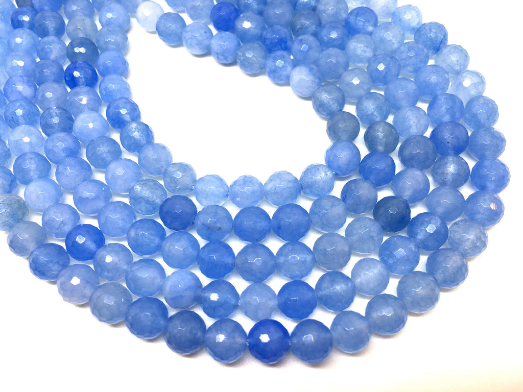 8mm Sky Blue Agate faceted Glass round Beads, jewelry Making beads, Wire Bangles, long necklaces, tassel necklace, light blue gemstone