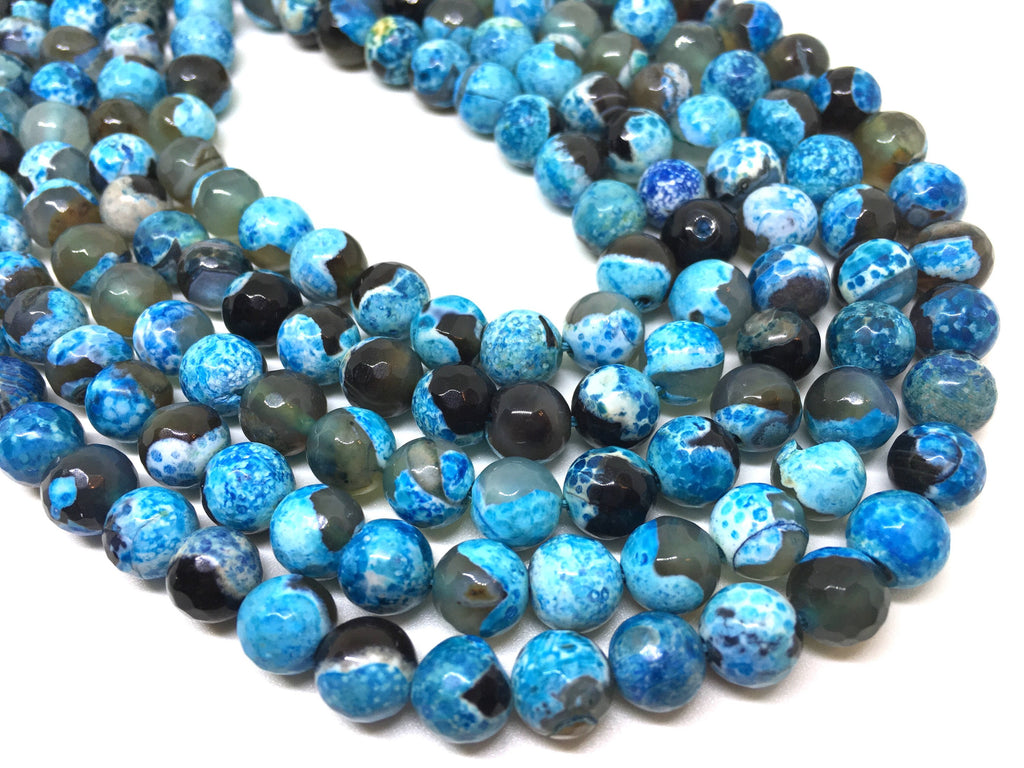 8mm Gray & Blue Agate faceted Glass round Beads, jewelry Making beads, Wire Bangles, long necklaces, tassel necklace, blue spotted gemstone