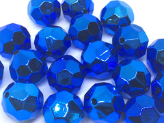 20mm BLUE Beads, Faceted Metallic Circle Beads, big acrylic beads, bracelet necklace earrings, jewelry making, acrylic beads, bubblegum bead