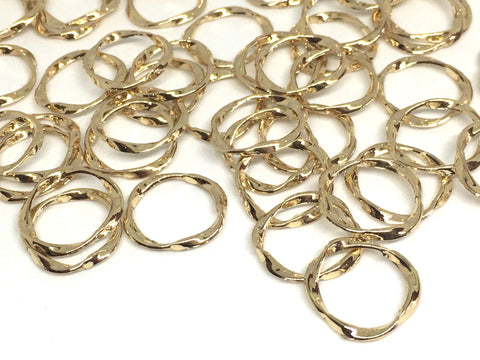 18mm Gold twisted circles, bracelet necklace earrings, jewelry making, geometric earrings, minimalist blanks, simple gold jewelry