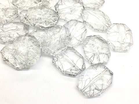 Silver & Clear translucent octagon beads, 33mm beads, silver painted resin beads, lucite beads, jewelry making bracelet earrings, silver