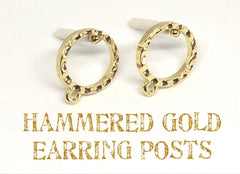 20mm Hammered Gold post earring circle blanks, gold round earring, gold stud earring round, gold jewelry, gold dangle earring making