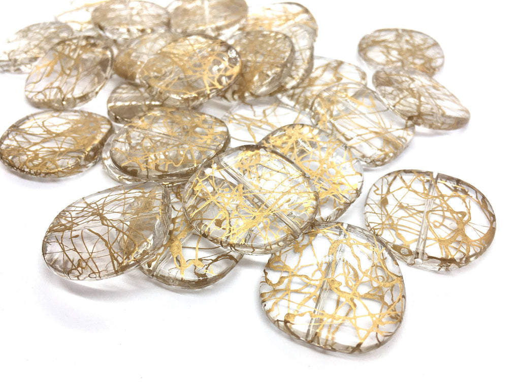 Gold painted circle Translucent Beads, crystal bead, 30mm bead, translucent beads, bangle beads, round circular beads, resin beads lucite