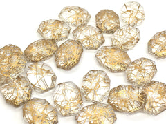 Gold & Clear translucent octagon beads, 33mm beads, gold painted resin beads, lucite beads, jewelry making bracelet earrings, gold jewelry