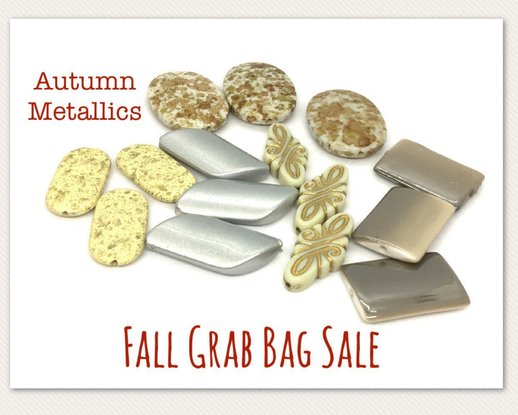 Fall SALE Colored Bead Grab Bag, Metallic Beads, Halloween beads, Halloween jewelry, gold silver beads jewelry, October beads clearance