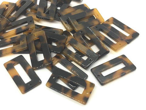 Tortoise Shell Beads, rectangle shape acrylic 31mm Long Earring or Necklace pendant bead, two hole pendant, acrylic tortoise shell, brown
