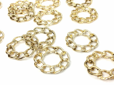 Gold Chain link 25mm rounds, earrings pendant necklace, chunky gold chain circles, earrings blanks jewelry, gold link chain earrings
