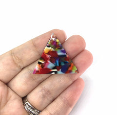 Rainbow Confetti Tortoise Shell Beads, triangle shape acrylic 36x31mm Long Earring or Necklace pendant bead 1 one hole at top colorful pride