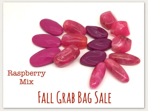 Fall SALE Colored Bead Grab Bag, pink Beads, Halloween beads, Halloween jewelry, raspberry beads jewelry, October beads clearance